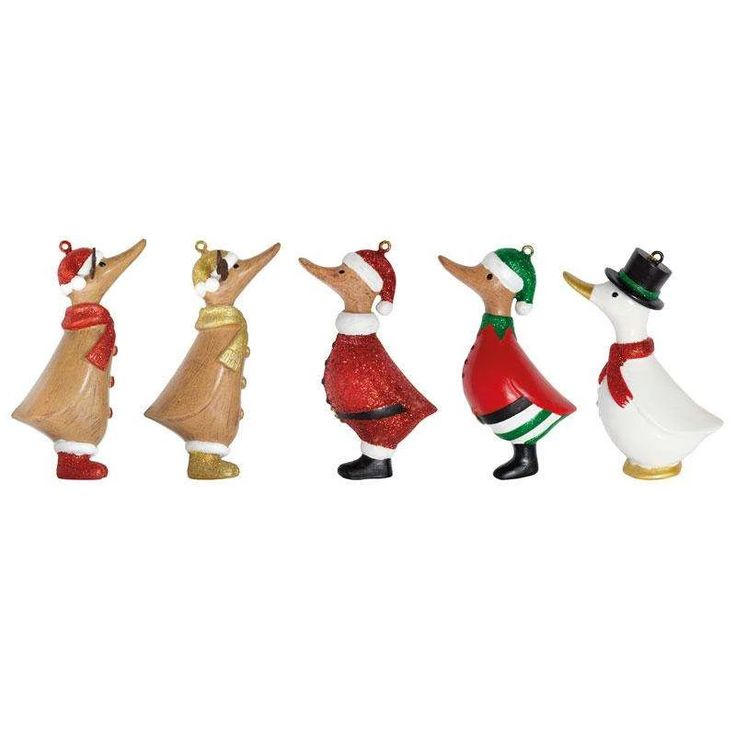 Christmas Duck Assorted Tree Decorations (Set Of 5)