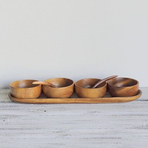 Vintage Wood Condiment Bowls