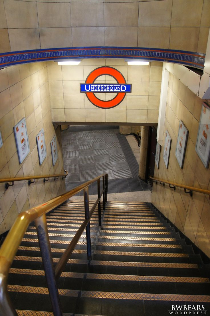 The London Tube - imagine walking up two flights of these stairs with two 50 pound suitcases.  Lol.  Yep --- I did that