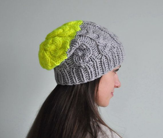 Neon Yellow Cable Knit Beanie Hat, Chunky Knit Hat, Slouchy Beanie Hat, Grey Hat