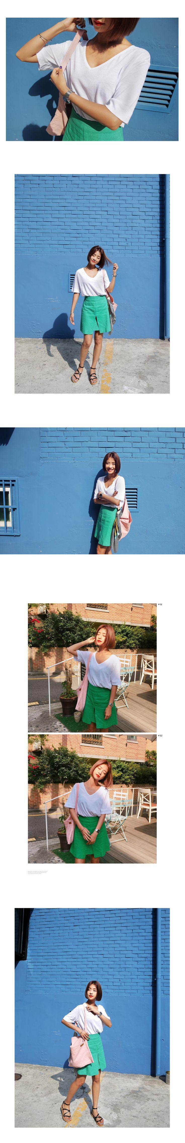 フロントスリットリネンフレアミニスカート・全2色