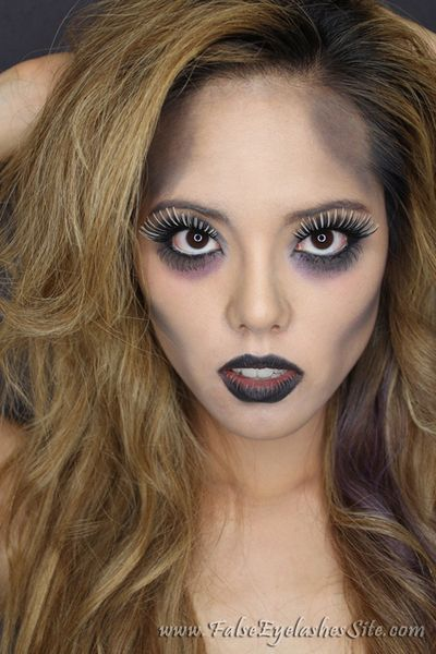 Glam Zombie Halloween Look with THREE False Eyelashes http://www.makeupbee.com/look.php?look_id=66607