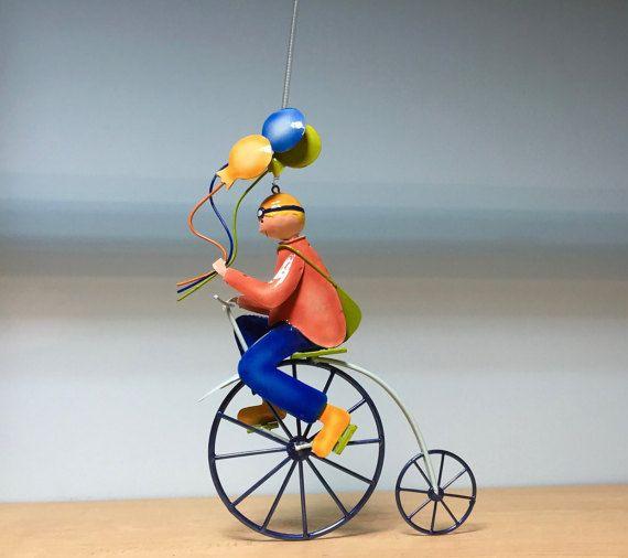 Metal hanging mobile bicycle balloon boymetal nursery