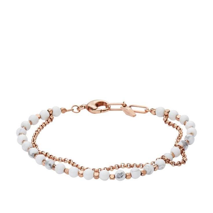 FOSSIL Armband Multi-Beads  Art.-Nr.: JA6774791  Dieses modische Damenarmband setzt sich aus weißen Perlen und rosé vergoldeten Metall-Nuggets zusammen.