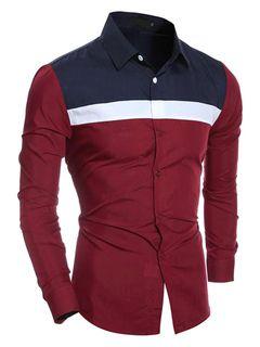 Camisas casuales de algodón mezclado con escote V amplio con manga larga estilo académico