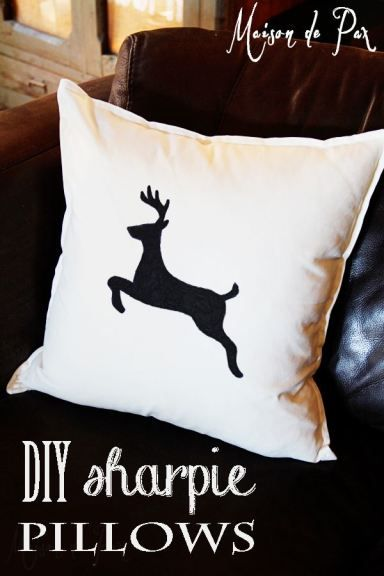 Brilliant!  These sharpie pillows are SO easy and perfect for the holidays! via maisondepax.com #diy #nosew #sharpie #Christmas