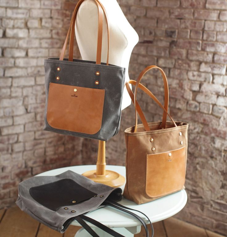 The Jayne Waxed Canvas and Leather Tote - Bag - Maycomb Mercantile
