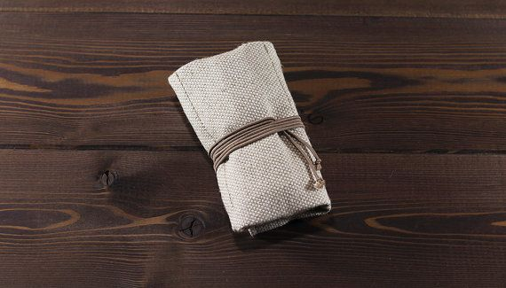White travel watch roll of durable canvas flax and by MrHaidukoff
