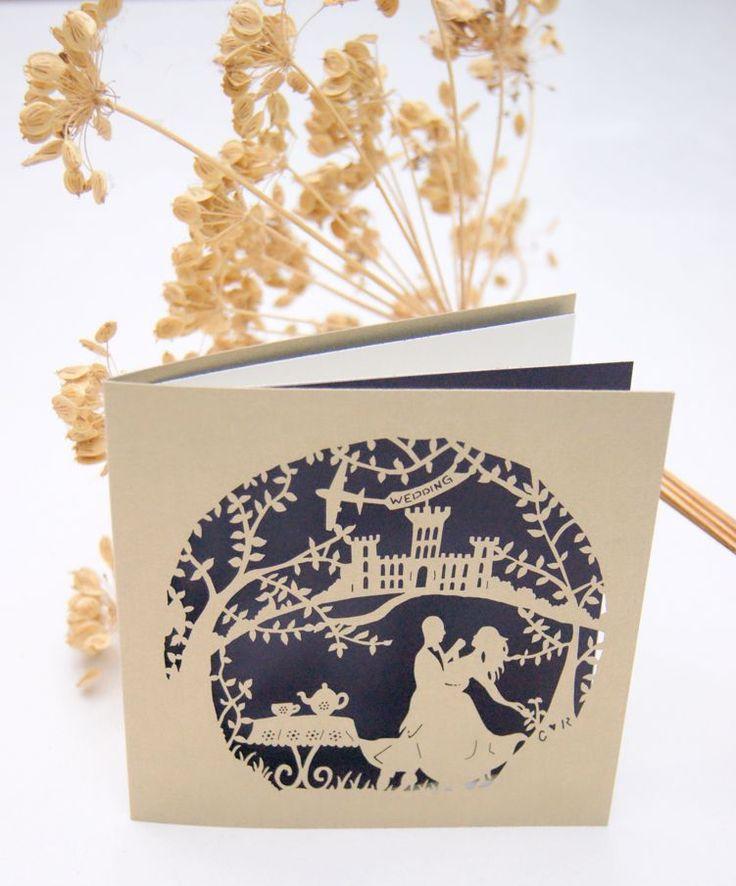 paper cut wedding invitations uk%0A Bespoke retro tea dance laser cut wedding invitations