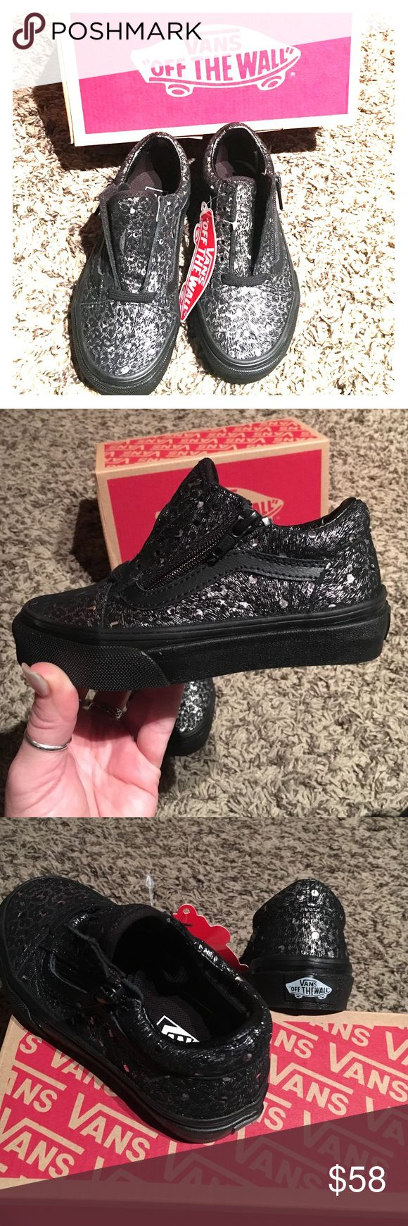 NWT Old School Zip Metallic Leopard Vans Toddler girls 10.5 SUPER RARE!' Absolutely adorable!Metallic zip Leopard Black Vans with Zippers on each side for easy slip on.They haven't even been laced yet.Original box and tags with sticker included.Trade Value 120$ Vans Shoes Sneakers