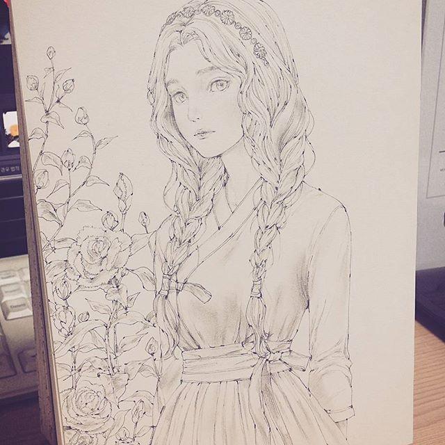 한복을 입은 소녀 #드로잉 #스케치 #소녀 #꽃 #한복 #연필그림 ...