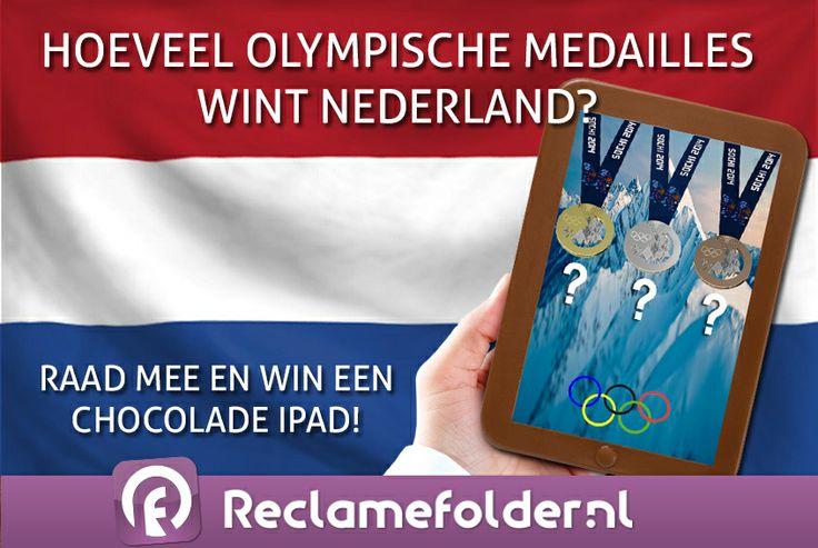 Morgen beginnen de Olympische Spelen! Weet jij hoeveel medailles Nederland dit jaar mee naar huis zal nemen? Reageer dan op dit berichtje en benoem hoeveel gouden, hoeveel zilveren en hoeveel bronzen medailles jij denkt dat Nederland wint. Onder de winnaars verloten wij chocolade iPads!