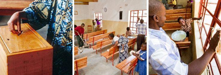 Un hermano depositando dinero en una caja de donaciones; hermanos limpiando el Salón del Reino