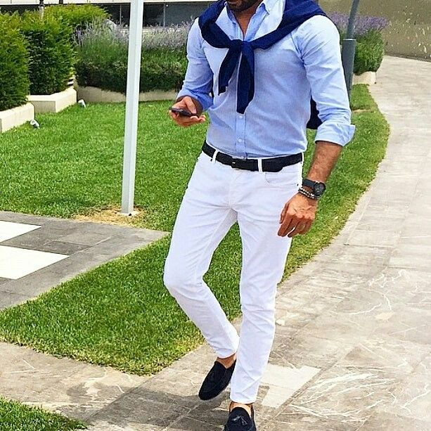 mens fashion style white chinos and shirt