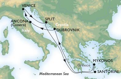 MSC Cruises: 7-night from Venice Venice, Split, Santorini, Mykonos, Dubrovnik, Ancona, Venice. Starting from $732pp