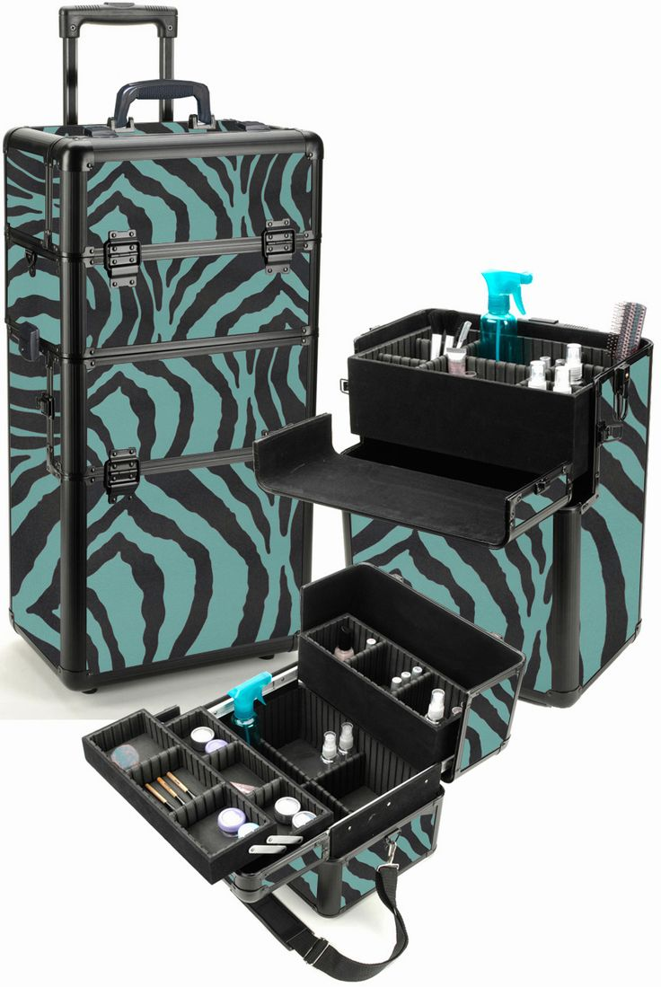 Turquoise Zebra Professional Rolling Makeup Case Rolling