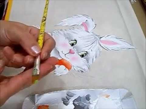 Pintura em Tecido - COELHA FIFI -  How to paint a rabbit
