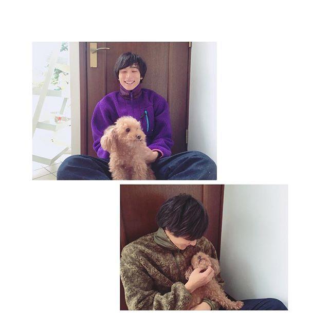 . 待ってましたーーー!!!! って感じのツーショット。 実家に帰ってるんかな? #小関裕太  #kosekiyuta  #アミューズ #愛犬 #キャンディー #鬼かわ #キャンディーそこ代わってくれ #もこもこの服もかわいい #小関裕太の代名詞はやはり #小関裕犬