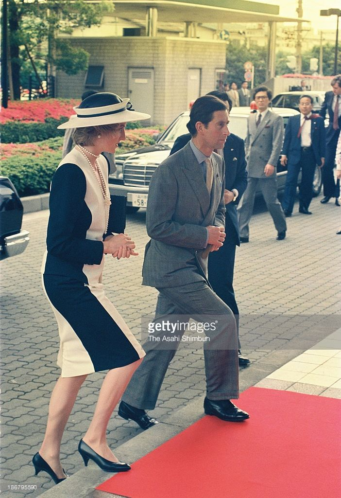 MAY 9 1986 Prince of Wales, Prince Charles and Princess of Wales, Princess Diana are seen upon arrival at All Nippon Airways training center at Tokyo International Airport