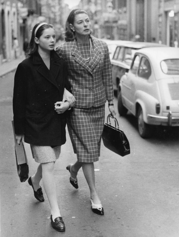 Isabella Rossellini and Ingrid Bergman, via Condotti, Rome ...