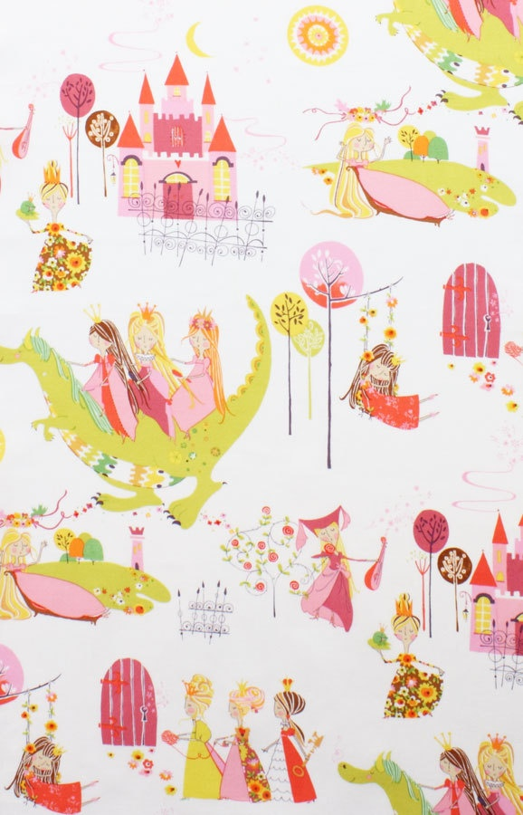 Once Upon a Time AH Fabric Princess Kingdom Fairy Tale Castle Dragon on Cream