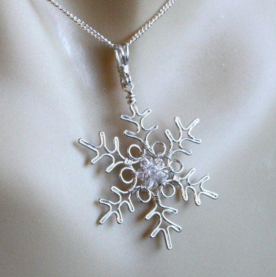 Snowflake Pendant Necklace Silver Wire by FantasiaElegance