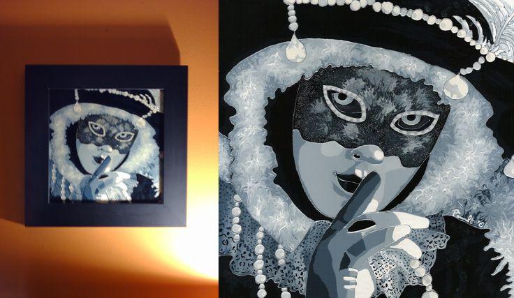Silence masqué / Peinture vitrail et céramique avec paillette argent