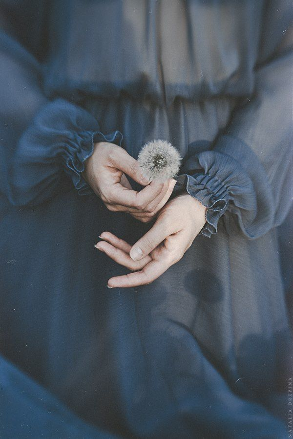 Girl holding a dandelion. Closeup of hands.