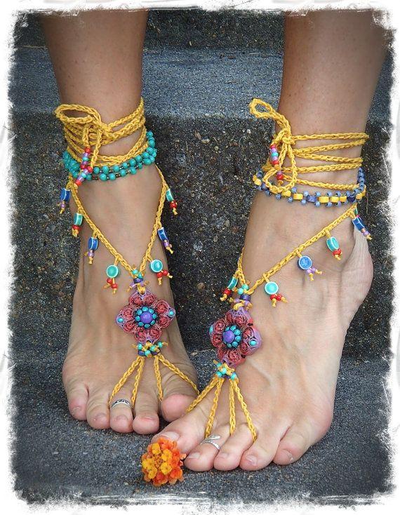 Shanti sandalias descalzas Roja y amarilla de la boda rebordeó las sandalias de ganchillo párrafo el tobillo del dedo del Pie de la Joyería del ...