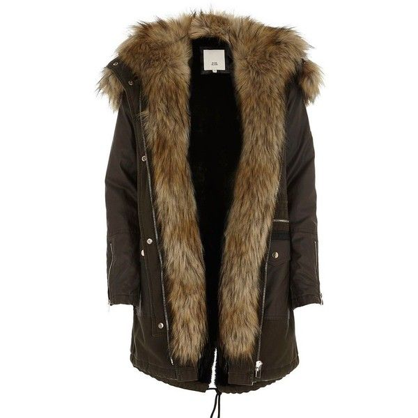 River Island Khaki green faux fur trim hooded parka (720 BRL) ❤ liked on Polyvore featuring outerwear, coats, coats / jackets, jackets, khaki, women, faux fur trim coats, green parka coat, quilted coat and button coat