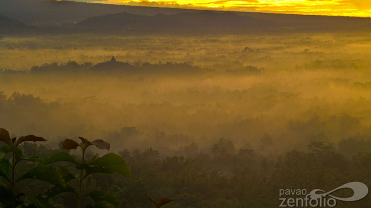 Borobudur temple merged in the clouds