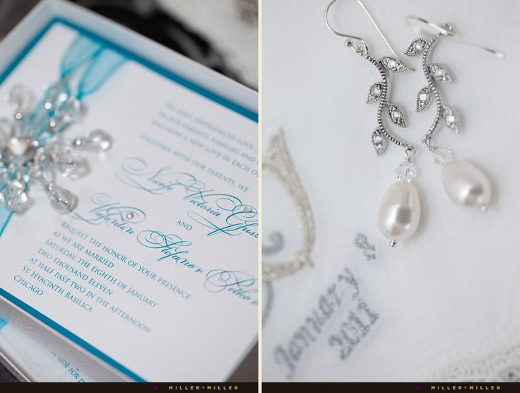 Snowflake Crystals On The Invitation Set Stage For A Fabulous Winter Wedding
