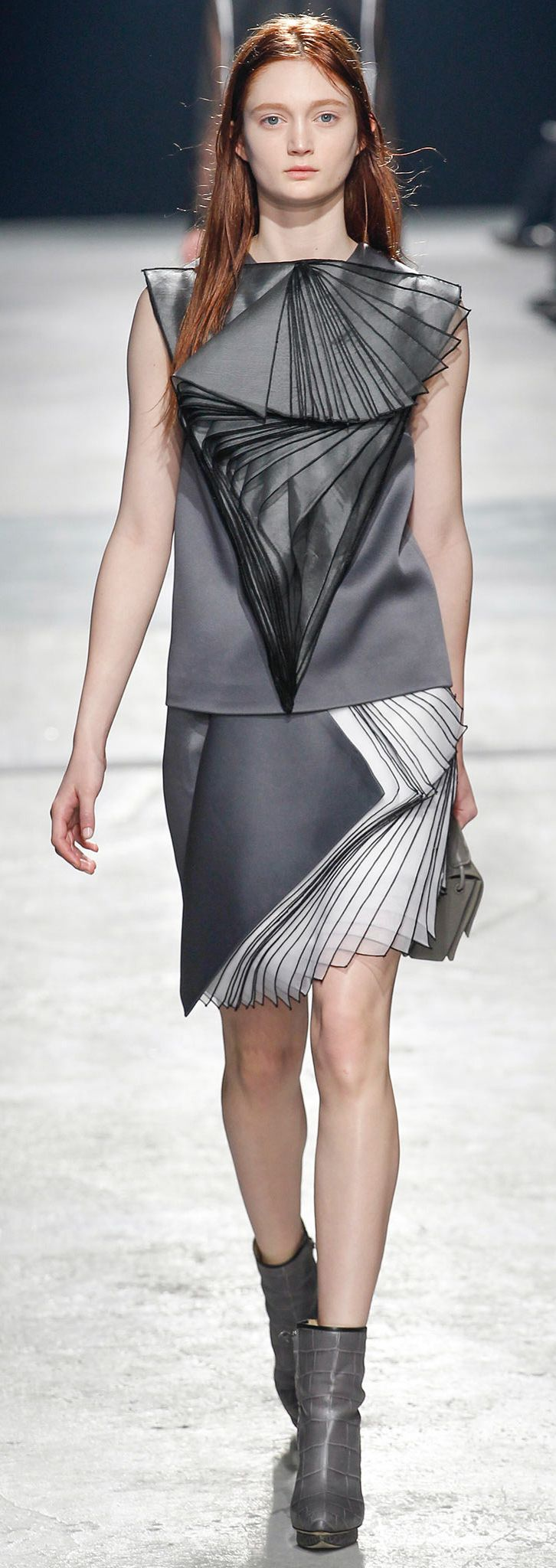 Wearable Art - tonal dress with beautifully sculptural, 3D layered construct - angular patterns; innovative fashion structures // Christopher Kane