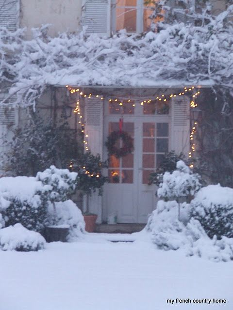beautiful white christmas...The Simplicity of the Lights and Wreath  have been  so enriched by Gods BEAUTIFUL amount of snow... ~~♥~~