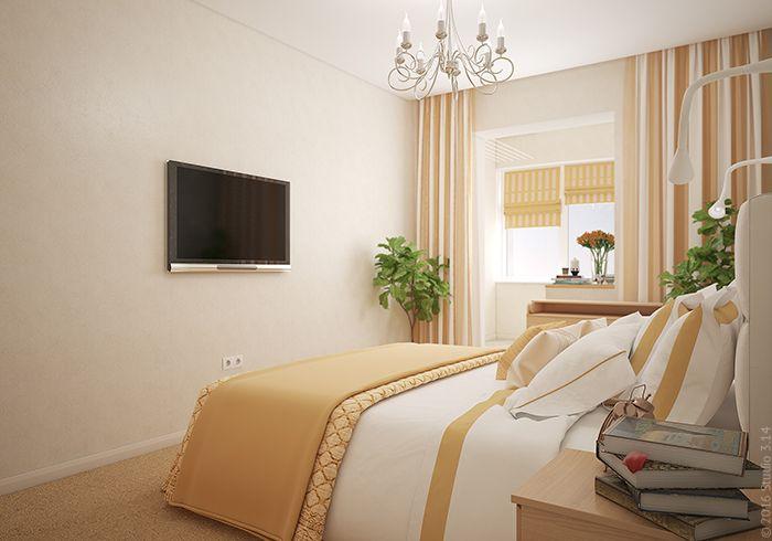 Узкий проход в изножье кровати не предусматривает особого оформления ТВ-зоны в спальне.