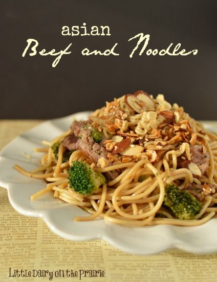 Asian Beef and Noodles is a simple meal. Toasted sesame seeds and almonds on top are my favorite part!  Little Dairy on the Prairie