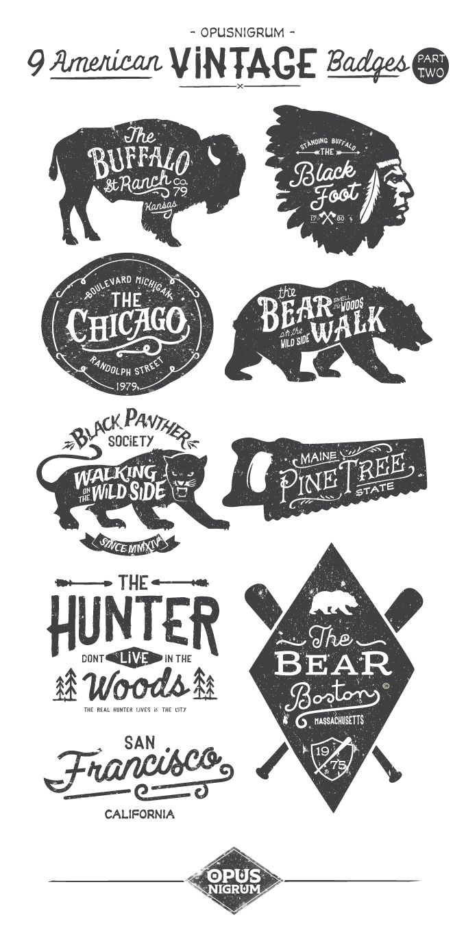 American Vintage Badges Part Two http://www.behance.net/opusnigrum: