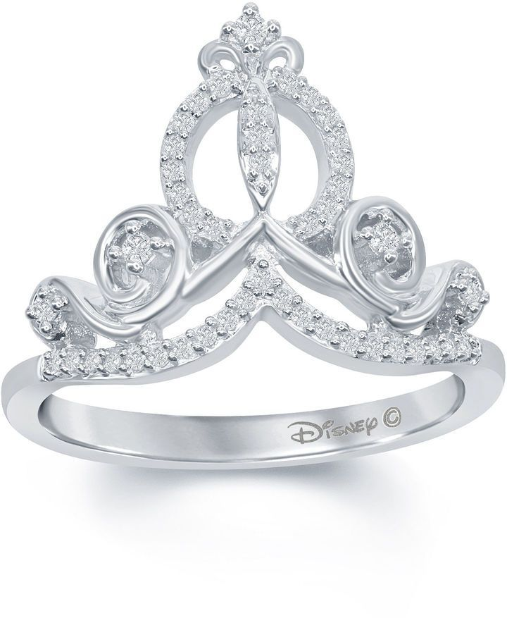 ENCHANTED FINE JEWELRY BY DISNEY Enchanted by Disney 1/6 C.T. T.W. Diamond Cinderella Ring In Sterling Silver Dreams do come true! Affiliate ad!