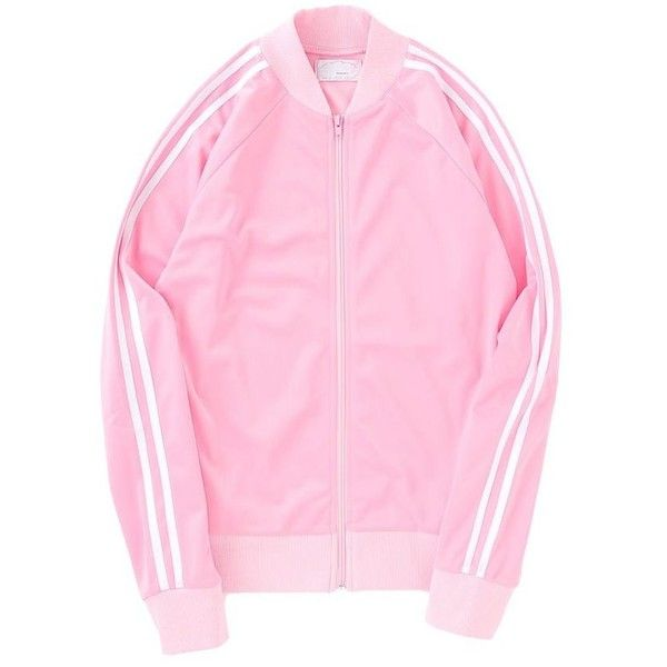 【10%OFF】Flapper's Club(フラッパーズクラブ) ジャージブルゾン found on Polyvore featuring women's fashion, activewear, jackets, clothing - outerwear, spinns and pink sportswear