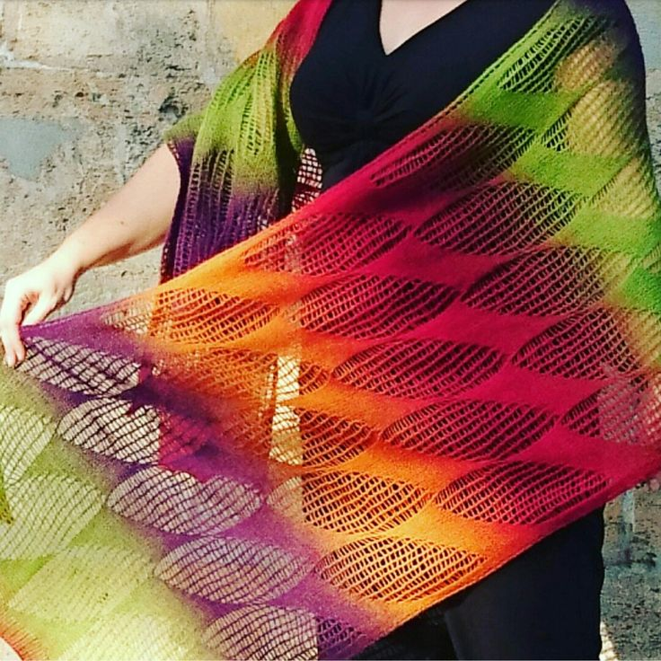 """ Camino leaves "" by Kieran Foley Aade Long Artistic 8\2 400m\100gr 100% wool. 220 gr, 250x55 cm. Color Festival. Needls Knit Pro Nova Metel Cubics 3.5  September 2016"