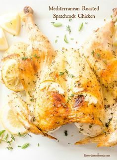 Mediterranean Roasted Spatchcock Chicken is butterflied chicken seasoned with lemon, garlic, and herbs and roasted to perfection!