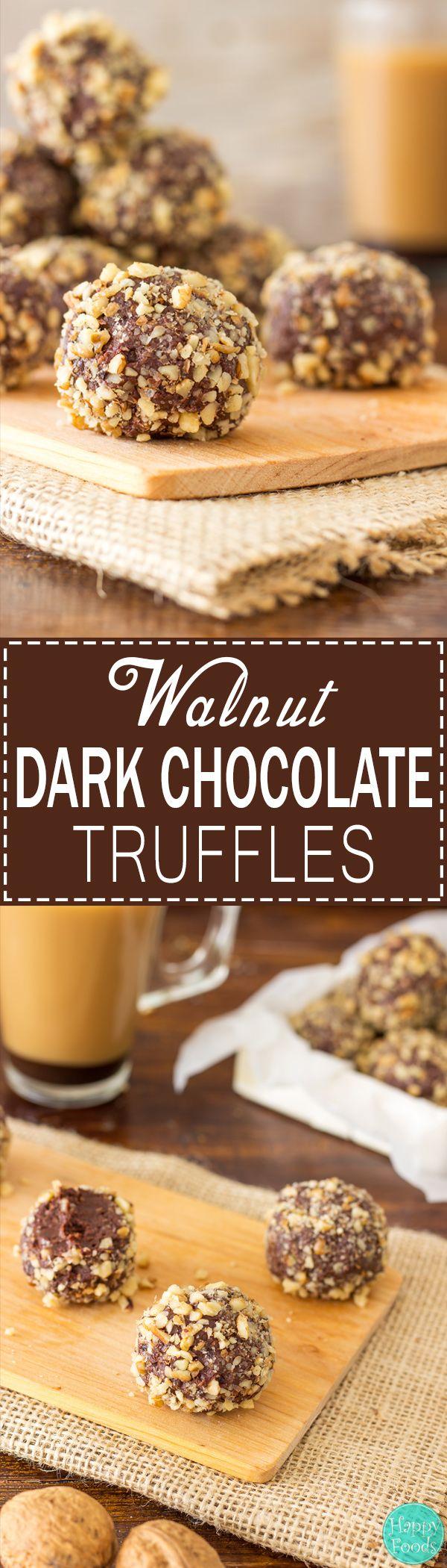Walnut Dark Chocolate Truffles - Super easy no bake dessert recipe! Best sweet treats. Only 5 ingredients - Dark Chocolate, Caramel (Dulce de Leche), Walnuts, Butter and Dried Fruit! | happyfoodstube.com