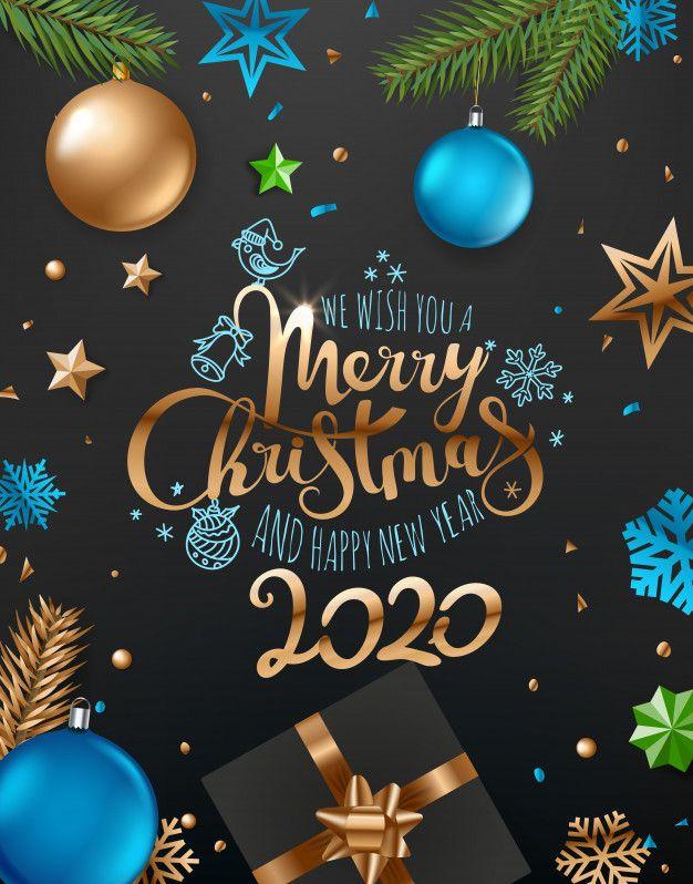 Merry Christmas And Happy New Year Wishing Card In 2020 Merry Christmas And Happy New Year New Year Greeting Cards Happy New Year Greetings