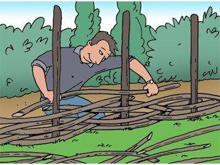 Natuurlijke tuinafsluiting maken met vlechtwerk - Afsluiting - Livios En naar boven toe telkens meer ruimte laten om een 'open' hek te maken als afsluiting voor de kippenren.