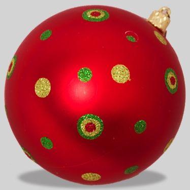 100mm Red matt with green and gold glitter dots  Code : BADE010REGRDOT