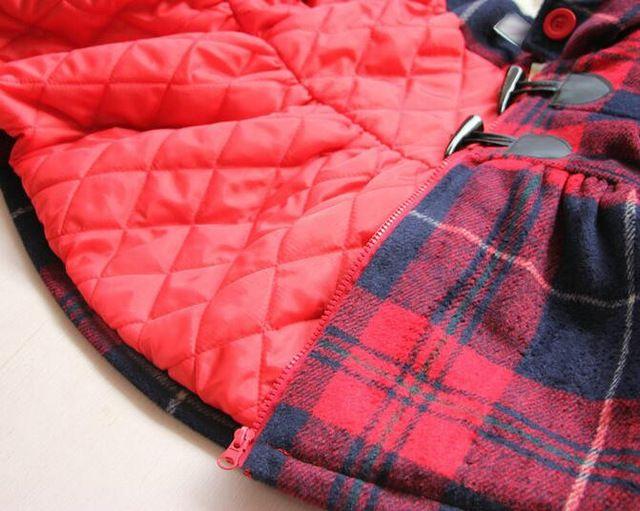 Y30886494 Varejo 2016 New Inverno Da Menina de Lã Xadrez Casaco De Lã Menina Com Capuz Verme Moda Outerwear Menina Gilr Roupas Lolita