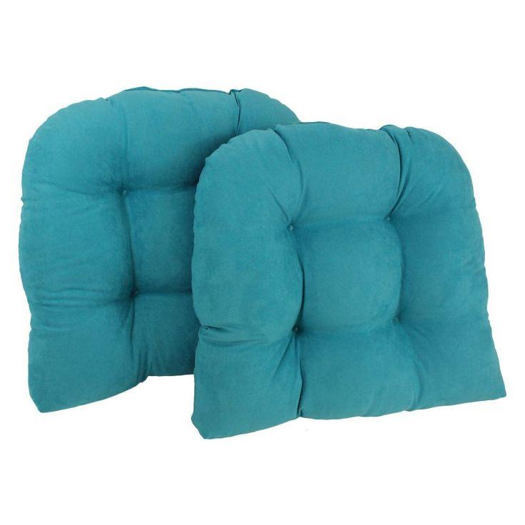 Blazing Needles Microsuede U-Shaped Indoor Chair Cushion - Set of 2 Aqua Blue - 93184-2CH-MS-AB