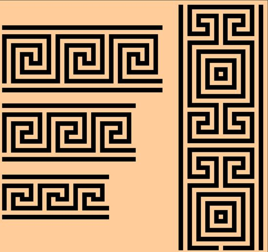 Древняя Греция, древнегреческий орнамент, узор,  рисунок в векторе,  EPS