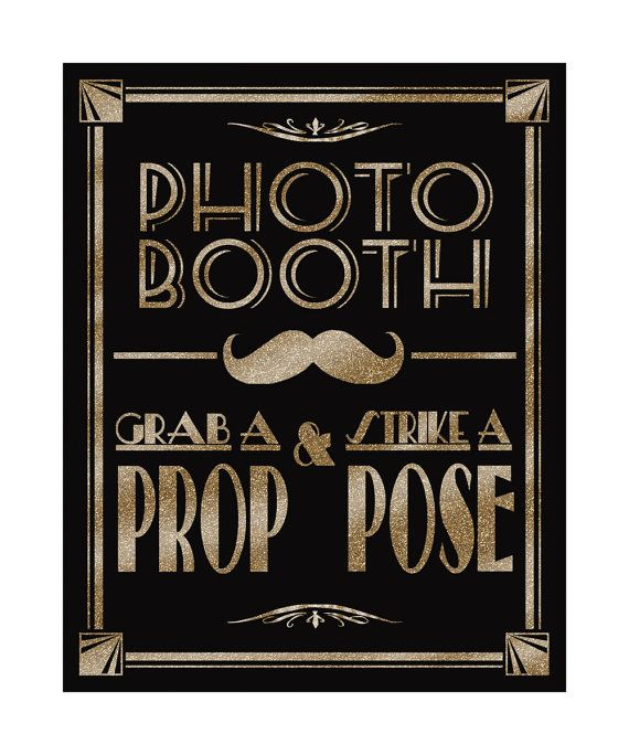 Printable Photo Booth -Art Deco/Great Gatsby/1920's wedding theme - instant download digital file - DIY - black and glitter gold