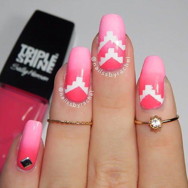 Pink and Perfect from @nailssbyrachel • Using: Tetris Nail Vinyls www.snailvinyls.com